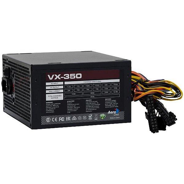 Fonte ATX 350 Watts Potência Real Bivolt Manual AEROCOOL VX-350