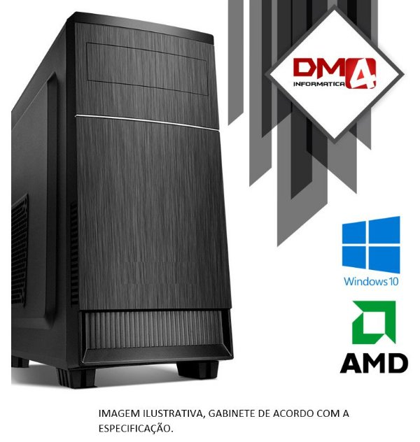 Computador Home Office AMD A10 9630P 2.6 GHZ, 8GB DDR4, SSD M.2 NVME 256GB, Wi-Fi 1300 Mbps