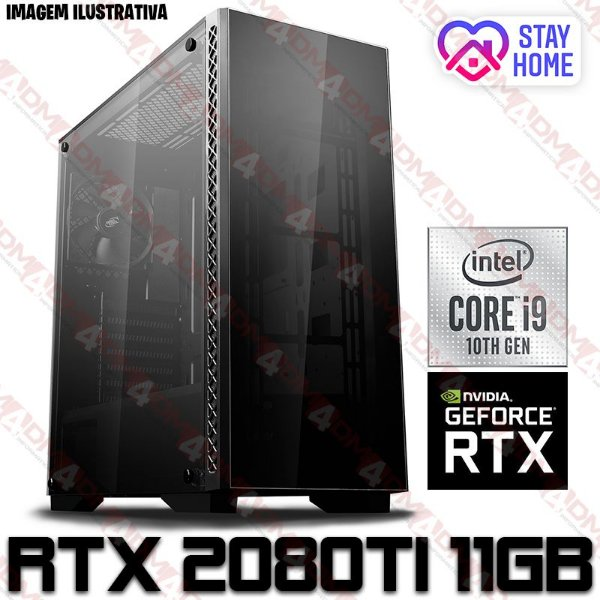 PC Gamer Intel Core i9 10900K, 64GB DDR4, SSD M.2 NVME 512GB, HD 2TB, GPU GEFORCE RTX 2080TI OC 11GB