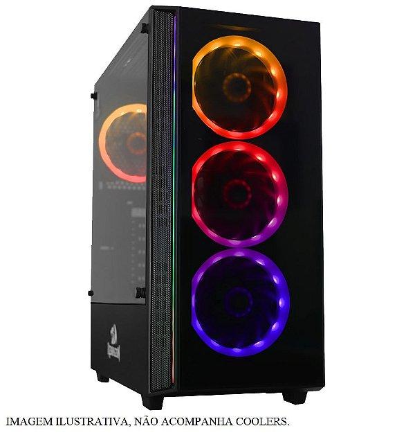 Gabinete ATX Gamer C/ Frente e Tampa Lateral em Vidro, USB 3.0 Frontal - REDRAGON GRAPPLE BLACK - GC-607BK