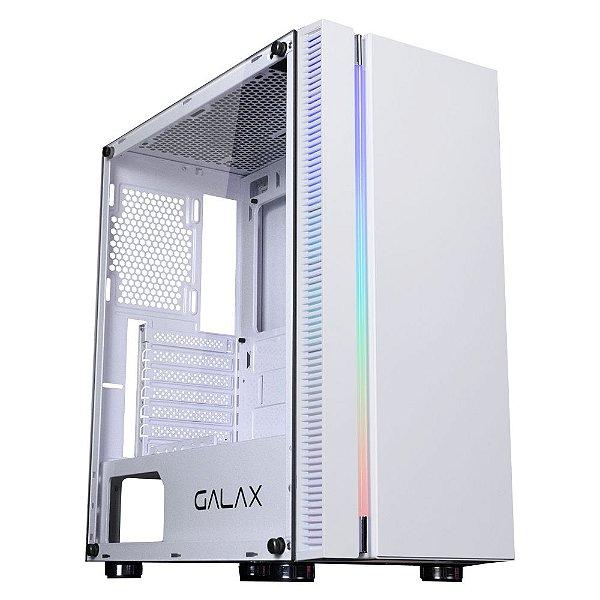 Gabinete Micro ATX Gamer C/ Tampa Lateral em Vidro, USB 3.0 Frontal, GALAX QUASAR GX600 WHITE