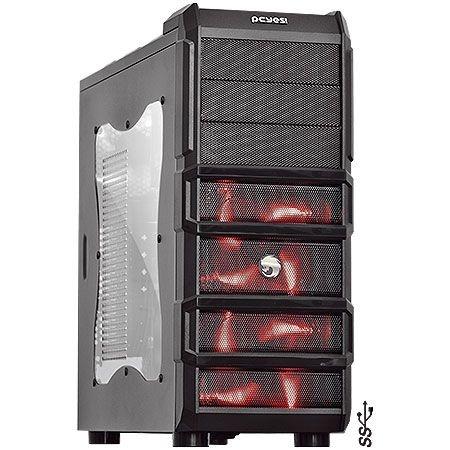 Gabinete ATX Gamer PCYES Rhino Black/RED C/ Acrílico e USB 3.0