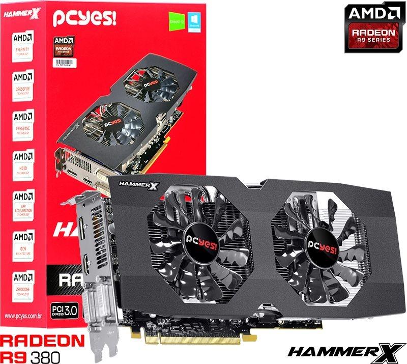 Placa de Vídeo ATI Radeon R9 380 - 4gb DDR5 - 256 Bits PCYES HAMMERX