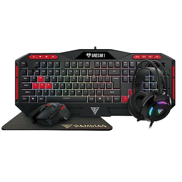 Combo Gamer Gamdias Poseidon M2 4 em 1, Teclado, Mouse, Headset e Mousepad, Poseidon M2