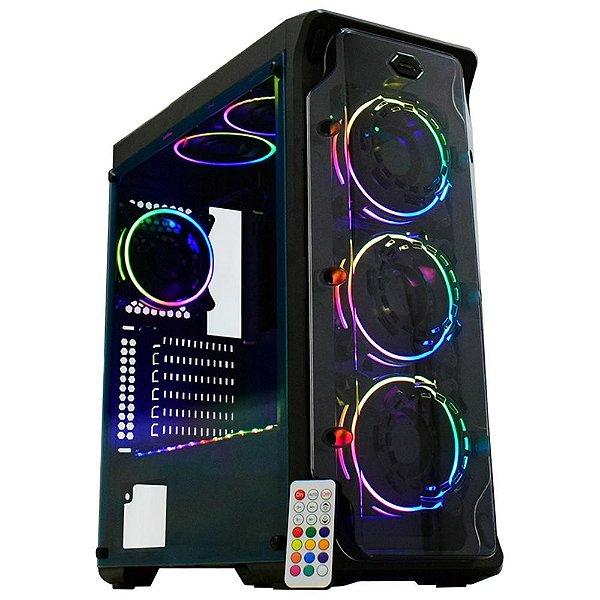 Gabinete ATX GAMER C/ Tampa Lateral em Acrílico, USB 3.0 Frontal, 3 Coolers RGB - K-MEX DARK TROOPER CG-01B1