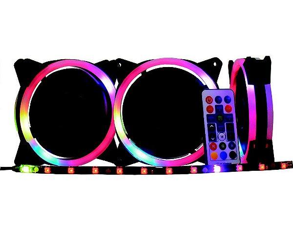 KIT 3 FANS LED RGB RAINBOW + FITA LED + CONTROLE AF-J1225 K-MEX