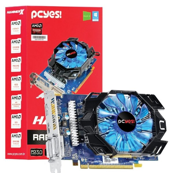 Placa de Vídeo ATI Radeon R7 360 OC 2gb DDR5 - 128 Bits PCYES Hammer