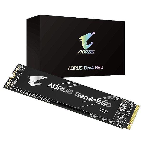 SSD Aorus Gen4, 1TB, M.2, NVMe, Leituras: 5000MB/s e Gravações: 4400MB/s - GP-AG41TB
