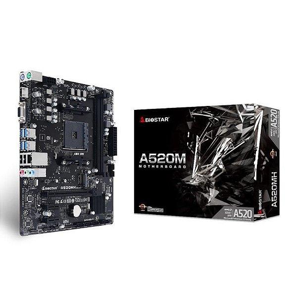 Placa Mãe BIOSTAR CHIPSET AMD A520MH SOCKET LGA AM4