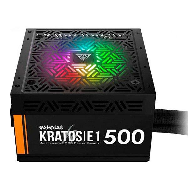 Fonte 500W Gamdias Kratos - RGB - Eficiência 80% - 80 PLUS® White - E1-500W