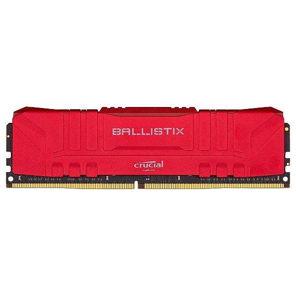 Memória Crucial Ballistix 8GB 3000 Mhz DDR4 CL15 RED - BL8G30C15U4R (1X8GB)