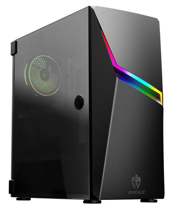 Gabinete ATX Gamer C/ Tampa Lateral em Vidro, USB 3.0 Frontal, Iluminação RGB - EVOLUT ASHE RGB EG-811