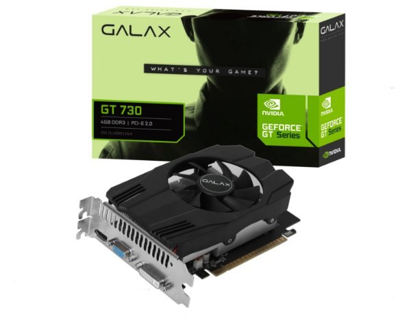 Placa de Vídeo GPU GEFORCE GT 730 4GB DDR3 128 BITS GALAX - 73GQS4HX00WG