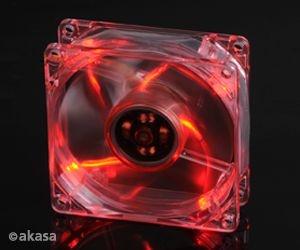 Cooler FAN Akasa 8cm com LED Vermelho AK-170CR-4RDS