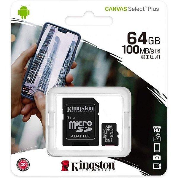 Cartão SD Kingston 64GB Canvas Select Plus 100MB/S
