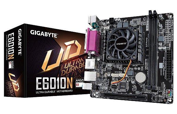 Placa Mãe Mini ITX GIGABYTE E6010N C/ Processador AMD E1-6010 Dual Core