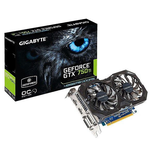 Placa de Vídeo Geforce GTX 750TI OC 4gb DDR5 - 128 Bits Gigabyte WindForce GV-N75TWF2OC-4GI