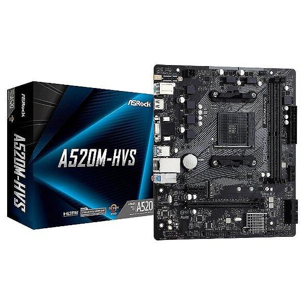 Placa Mãe ASrock CHIPSET AMD A520M-HVS SOCKET AM4