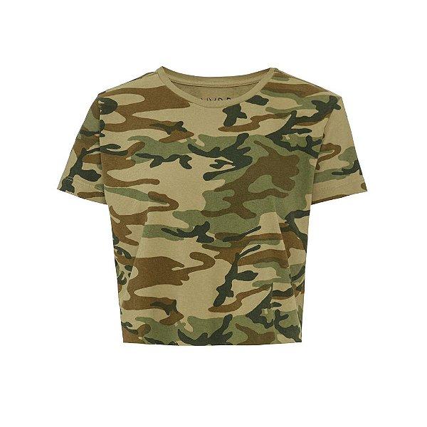 Camiseta Básica Cropped Camuflada