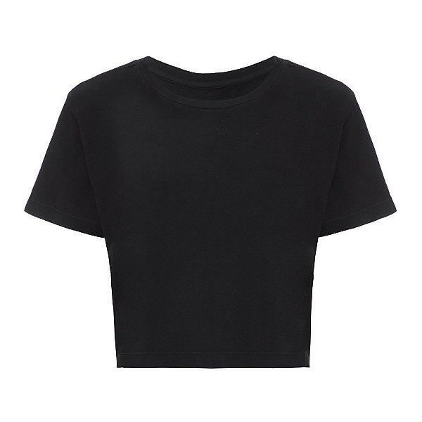 Camiseta Básica Cropped Preta