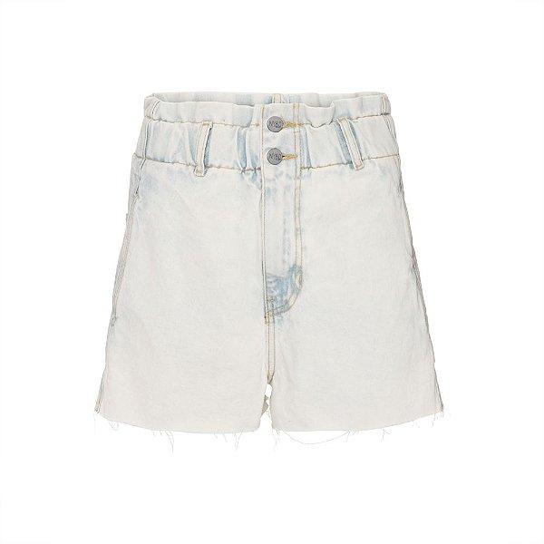 Shorts Cós Elástico Jeans Claro
