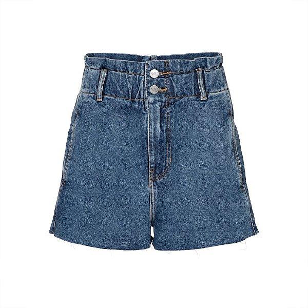 Shorts Cós Elástico Jeans Escuro