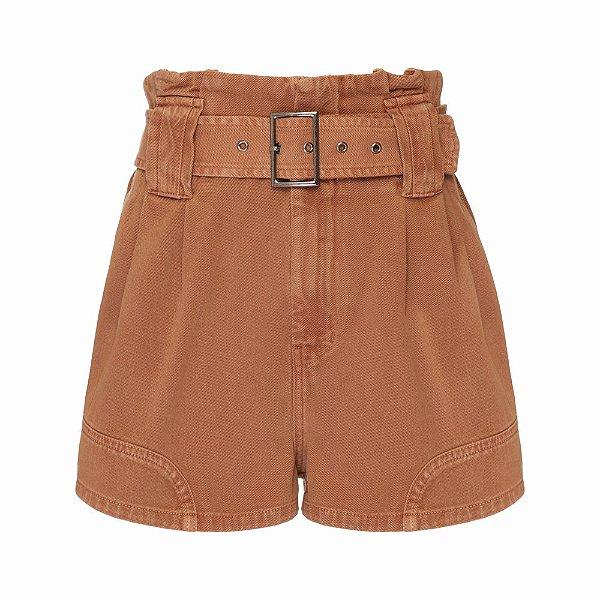 Shorts Passante Cinto Bege