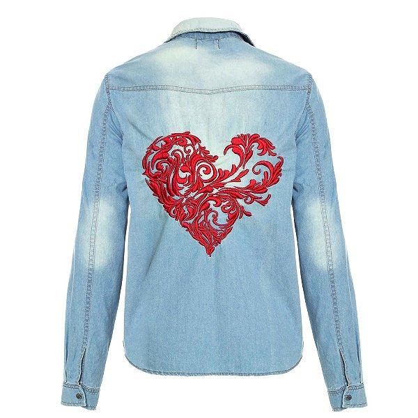 Camisa Jacket  Coração Arabesco Lavagem Clara