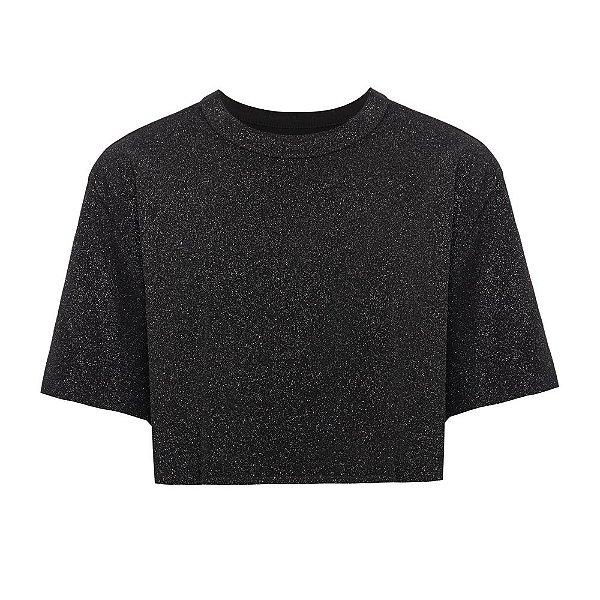 Camiseta Cropped Brilho Chumbo