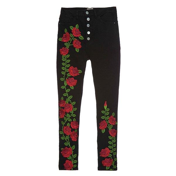 Calça Skinny High Waisted Preta Rosas Vermelhas