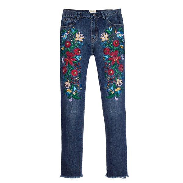 Calça Boyfriend Floral Vintage