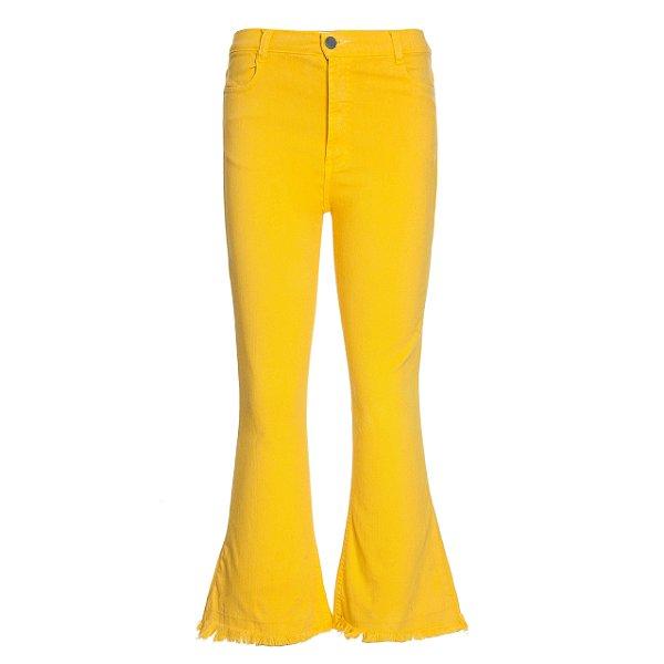 Calça Cropped Flare Amarela