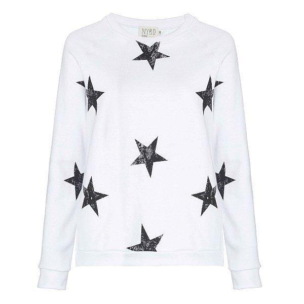 Moletom Branco Estrelas Pretas