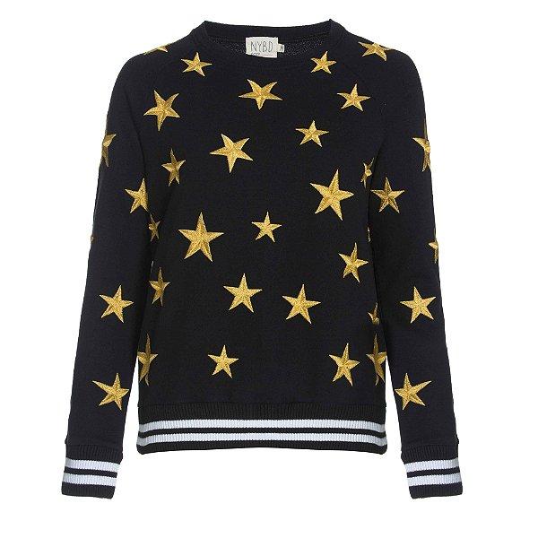 Moletom Preto Bordado Estrelas Douradas