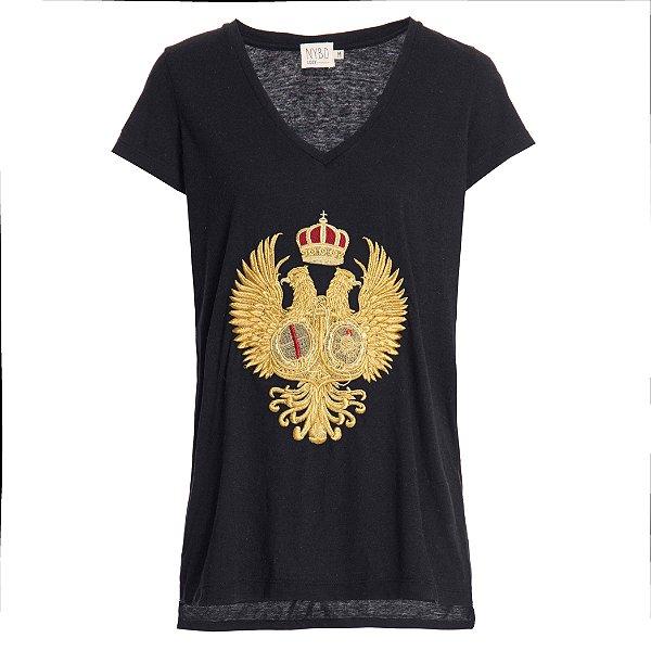Camiseta Cozy Preta Brasão Dourado