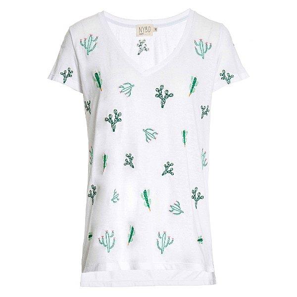 Camiseta Cozy Branca Cactos