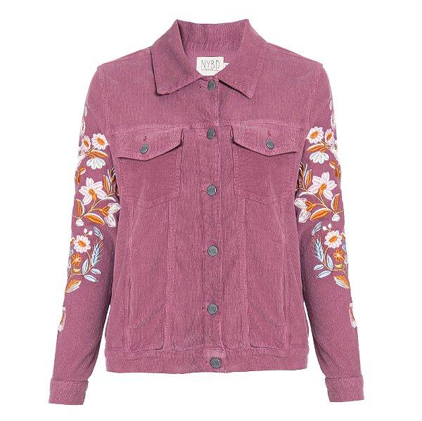 Jaqueta de Veludo Blush Flores