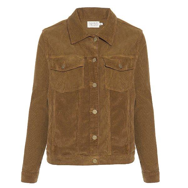 Jaqueta de Veludo Camelo Lisa