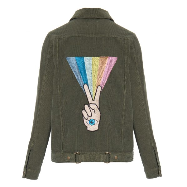 Jaqueta de Veludo Militar Peace Íris