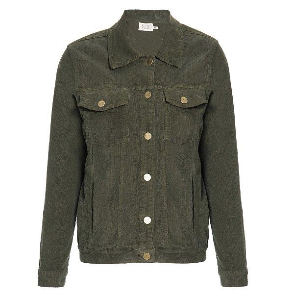 Jaqueta de Veludo Militar Lisa