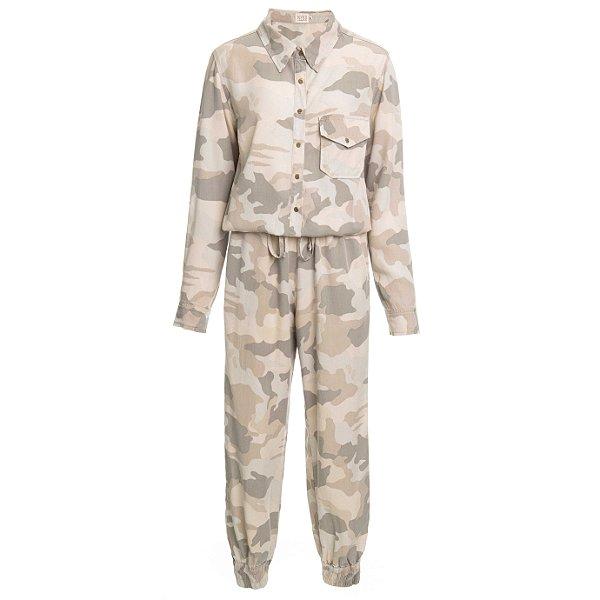 Macacão Pijama Camuflado Bege