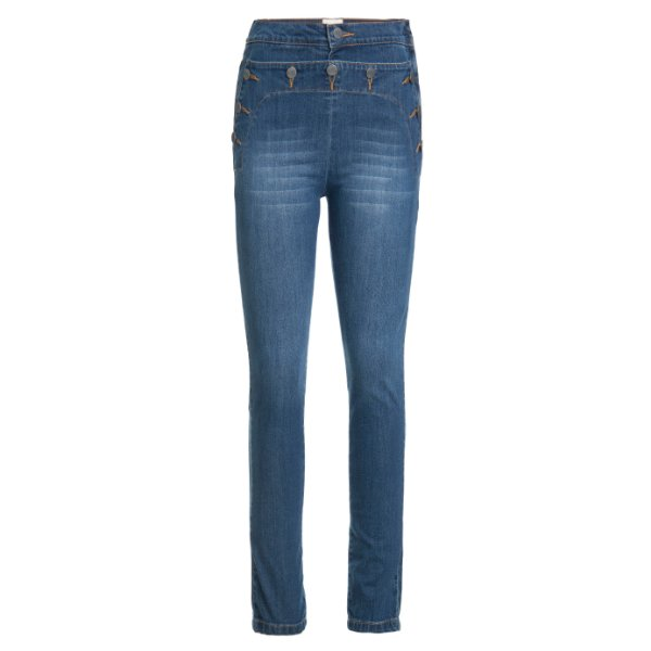 Calça Skinny 10 Botões High Waisted Jeans
