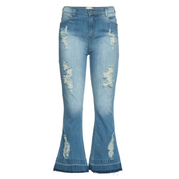 Calça Cropped Flare Jeans Destroyed