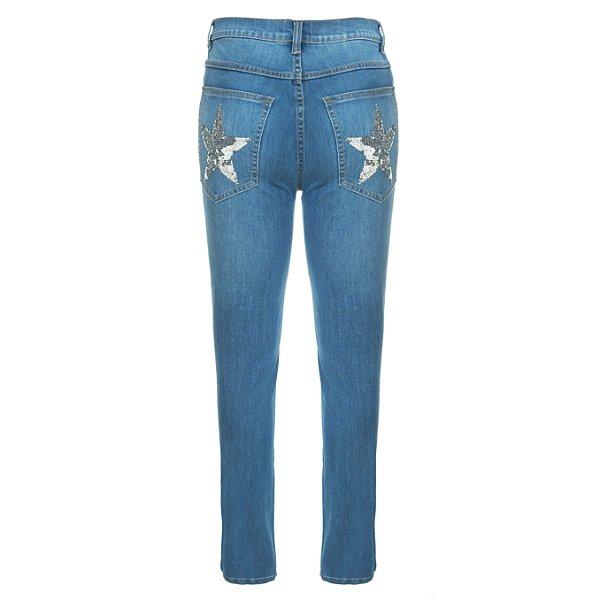 Calça Skinny High Waisted Destroyed Estrelas Bolsos