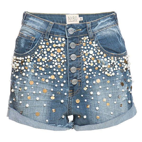 Shorts 5 Botões Pérolas
