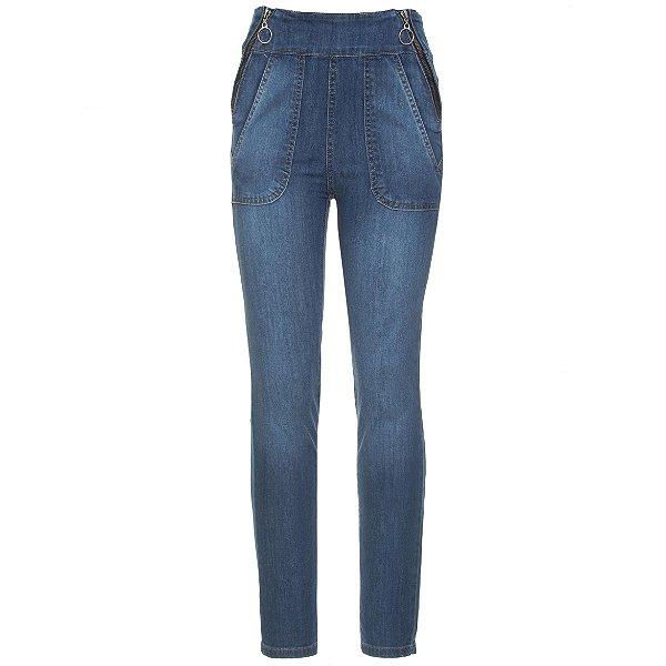 Calça Skinny High Waisted Zíper Jeans