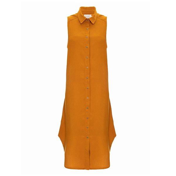 Vestido Chemise Tencel Mostarda