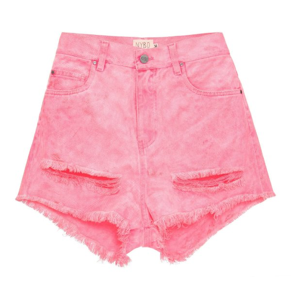 Shorts Destroyed Rosa Neon Mica Rocha