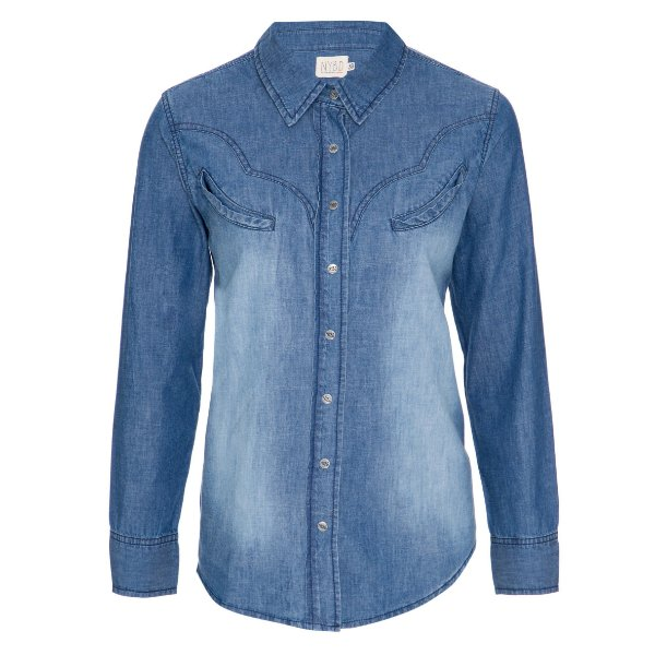 Camisa Jeans Western Jeans Escura