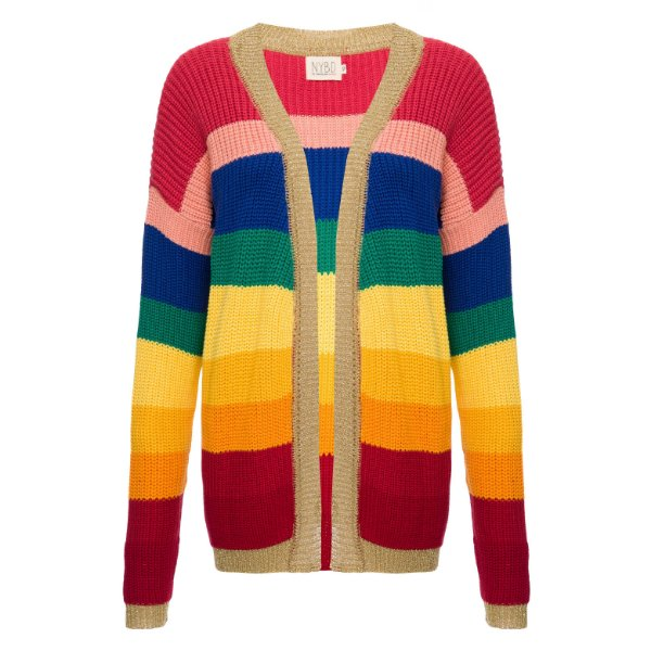 Cardigan Tricot Arco-Íris